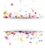 Festive background with colorful confetti. White festive defocused background with colorful confetti. Vector paper illustration Royalty Free Stock Photo