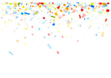 Festive background with colorful confetti. White festive background with colorful figured confetti. Vector paper illustration Royalty Free Stock Photo