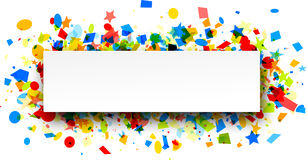 Festive background with colorful confetti. White festive background with colorful figured confetti. Vector paper illustration Royalty Free Stock Photos