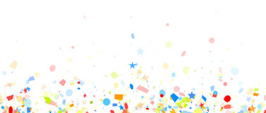 Festive background with colorful confetti. White festive background with colorful figured confetti. Vector paper illustration Stock Image