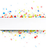 Festive background with colorful confetti. White festive background with colorful figured confetti. Vector paper illustration Stock Photos