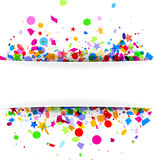 Festive background with colorful confetti. White festive background with colorful figured confetti. Vector paper illustration Royalty Free Stock Image