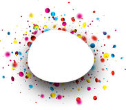 Festive background with colorful confetti. White festive oval background with blurred colorful confetti. Vector paper illustration Royalty Free Stock Photography