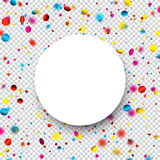 Festive background with colorful confetti. White round and checkered festive background with colorful confetti. Vector illustration Royalty Free Stock Image