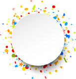 Festive background with colorful confetti. White round festive background with colorful figured confetti. Vector paper illustration Royalty Free Stock Image