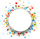 Festive background with colorful confetti. White round festive background with colorful figured confetti. Vector paper illustration Royalty Free Stock Photo