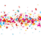 Festive background with colorful confetti. White festive background with colorful confetti. Vector paper illustration Royalty Free Stock Images