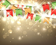 Festive background. With colour flags. Vector illustration Stock Images
