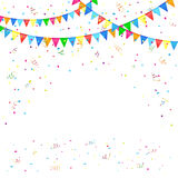 Festive background with confetti. Festive background with colored pennants and confetti, illustration Stock Photography
