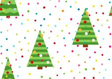 A festive background with confetti. A seamless pattern with yellow stars and Christmas tree. Winter holidays design. Christmas tre. A festive background with Stock Photography