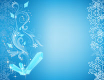 Festive background Cristmas. With snowflake and pattern on turn blue background Royalty Free Stock Photos
