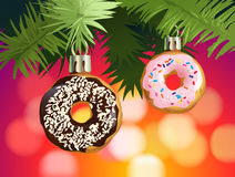 Festive background with donuts - decorations for the Christmas tree. Illustration festive background with donuts - decorations for the Christmas tree Stock Photo