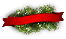 Festive background. With fir branch and ribbon. Vector illustration Royalty Free Stock Photo