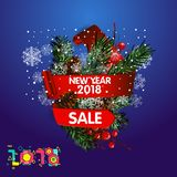 Festive background with fir branch and ribbon. Vector illustration. Blue background with fir branch and ribbon. Vector illustration. New Year and Merry Royalty Free Stock Photo