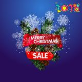 Festive background with fir branch and ribbon. Vector illustration. Christmas sale background with Christmas decoration Royalty Free Stock Photo