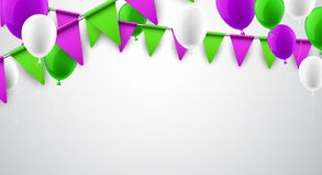 Festive background with flags and balloons. White background with green and lilac flags and balloons. Vector illustration Royalty Free Stock Image