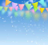 Festive background with flags. With blurred blue background Royalty Free Stock Image
