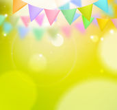 Festive background with flags. On blurred green background Royalty Free Stock Image