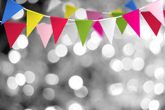 Festive background with flags. With blurred light background Royalty Free Stock Photo