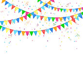 Festive background with flags. Festive background with colored flags and confetti, illustration Stock Photography