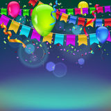 Festive background with flags. Garlands, streamers and balloons  for your business presentation Stock Photography