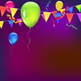 Festive background with flags. Background with flags, garlands, streamers and balloons for your presentation. Greeting card with bokeh effect on background Stock Photo
