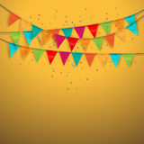 Festive background with flags. Vector illustration Stock Photography