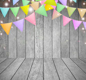 Festive background. Festive background with flags on wood background for your design Stock Photo