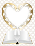 frame in shape of heart and an open book Royalty Free Stock Image