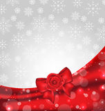 Festive background with gift bow and rose Royalty Free Stock Images