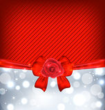Festive background with gift bow and rose Stock Photos
