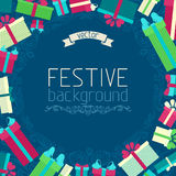Festive background. Gift boxes and ornate design elements. There is place for yopur text in the center Royalty Free Stock Images