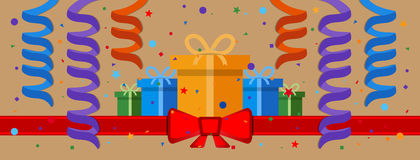 Festive background. With gift boxes and red ribbon. Eps 10 Royalty Free Stock Image