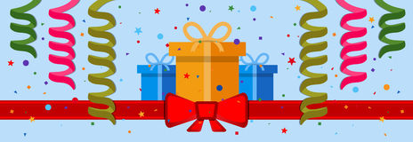 Festive background. With gift boxes and red ribbon. Eps 10 Stock Images