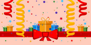 Festive background. With gift boxes and red ribbon. Eps 10 Stock Image