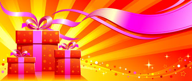 Festive background with gifts. Festive background with presents on red shining background Stock Photo