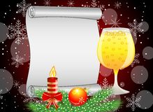 Festive background with glass of champagne and christmas decorat Royalty Free Stock Photos