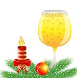 Festive background with glass of champagne and christmas decorat Stock Photography