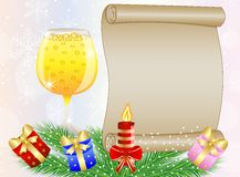 Festive background with glass of champagne and christmas gifts Stock Photos