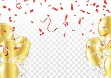 Festive background with gold balloons and confetti. Eps.10 Stock Images