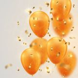Festive background with gold balloons and confetti. Colorfur   illustration Stock Images