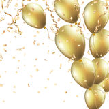 Festive background with gold balloons and confetti. This image was made by an illustrator. Vector EPS 10 format Stock Photo