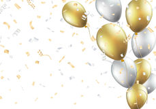 Festive background with gold and silver balloons Stock Photography