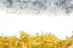 Festive background with gold and silver garland. To insert text Royalty Free Stock Photography