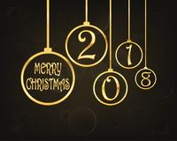 Festive Christmas background .Vector illustration. Festive background with golden christmas balls and Merry Christmas text. Vector illustration. Holiday greeting Royalty Free Stock Images