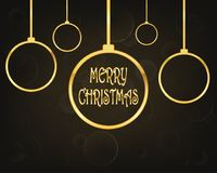 Festive Christmas background .Vector illustration. Festive background with golden christmas balls and Merry Christmas text. Vector illustration. Holiday greeting Royalty Free Stock Photos