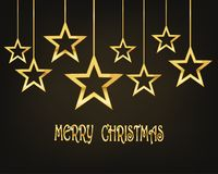 Festive background with Christmas stars.Vector illustration. Festive background with golden Christmas stars.Vector illustration. Holiday greeting Stock Images