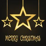 Festive background with Christmas stars.Vector illustration. Festive background with golden Christmas stars.Vector illustration. Holiday greeting Royalty Free Stock Photo