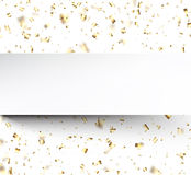 Festive background with golden confetti. Stock Photo