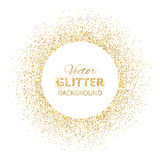 Festive background with golden glitter circle frame. And space for text. Vector glitter decoration, golden dust. Great for valentine, christmas and birthday Royalty Free Stock Photos